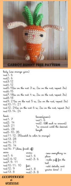 free pattern for everyone! :) i made a carrot bunny, a bunny disguised as a carrot lol :) [ Free Crochet Pattern ]