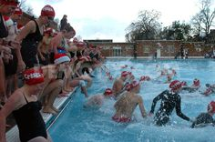 Daring swimmers brave the cold water of Brockwell Lido as they take the plunge at the first annual Crisis Midwinter Swim fundraiser in aid of Crisis at Christmas.