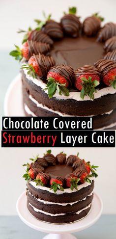 The Perfect One-Bowl Chocolate Cake Recipe - YupFoodie Strawberry Layer Cakes, Chocolate Strawberry Cake, Strawberry Cake Recipes, Chocolate Strawberries, Cake Chocolate, Strawberry Cake Decorations, Food Cakes, Cupcake Cakes, One Bowl Chocolate Cake Recipe