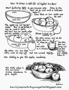 Drawing Techniques How to Draw Worksheets for The Young Artist: How To Draw A Still Life Of Apples In A Bowl Drawing Skills, Drawing Lessons, Drawing Techniques, Drawing Tips, Art Lessons, Painting & Drawing, Still Life Drawing, Art Worksheets, Drawing For Beginners