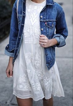 summer, white dress, denim jacket, lace
