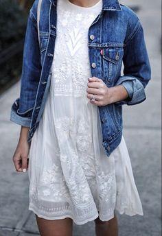 summer, white dress, denim jacket, lace