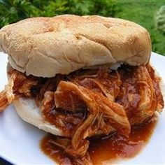 Zesty Slow Cooker Chicken Barbecue 6 frozen skinless, boneless chicken breast halves 1 (12 ounce) bottle barbeque sauce 1/2 cup Italian salad dressing 1/4 cup brown sugar 2 tablespoons Worcestershire sauce. 3 to 4 hours on High or 6 to 8 hours on Low.