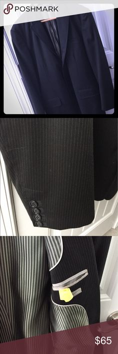 Kenneth Cole Pin Stripe Summer Suit Kenneth Cole Pin Stripe Summer Suit. Suit coat had slight piping detail, with striped interior. Lightweight tailored fit. Suit coat is 42 Long *but* sleeves have been tailored to Regular length. Pants are 36 W - 34 L but tailored to 32 L, although hemmed, not cut, so they can be let out again. Pants have slight tapering. This is in excellent used condition. Kenneth Cole Suits & Blazers Suits