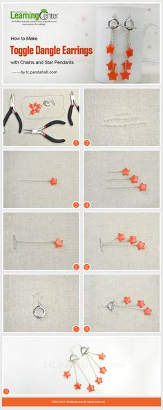 Learn how to make toggle dangle earrings with chains and star pendants in pandahall learning center.