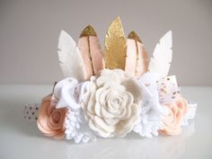 Kirei Luxe Range feather flower crown  suitable for little one to adult for all occasions - birthday, party, special events, wedding, flower girls,