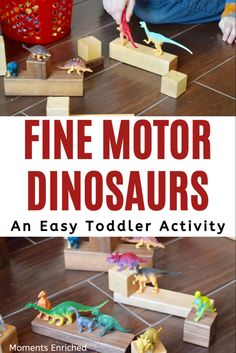 Are you looking for some fun and easy fine motor activities for your toddler? This dinosaur activity has everything you need for fine motor practice! Click through for the full activity! Dinosaurs Preschool, Dinosaur Activities, Dinosaur Crafts, Preschool Activities, Toddler Fine Motor Activities, Indoor Activities For Kids, Infant Activities, Infant Lesson Plans, Lesson Plans For Toddlers