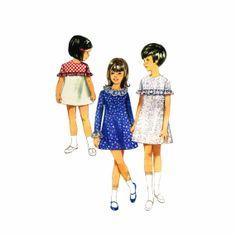 1960s Girls High Waist Aline Dress Butterick 4443 Vintage Sewing Pattern