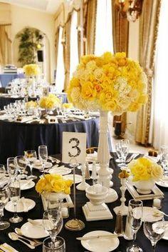Gorgeous white, yellow, and black wedding decorations - stunning!