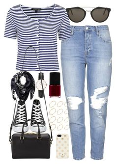 """""""Outfit for boyfriend jeans"""" by ferned ❤ liked on Polyvore featuring Topshop, Daniel Wellington, Converse, Givenchy, Yves Saint Laurent, RetroSuperFuture, ASOS, Kate Spade and NARS Cosmetics"""