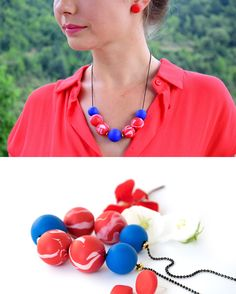 Polymer Clay Necklace, Polymer Clay Beads, Handmade Polymer Clay, Ball Chain, Header, Sunlight, Black Gold, Red And Blue, Washer Necklace