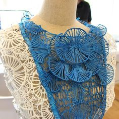 Detail shot of 3Doodled Dress from Shigo Fashion. Made with 3-D pen that exudes melted plastic strands
