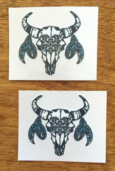 Our Western and Bohemian themed Bull Skull Temporary Tattoo is the perfect accessory for your next concert, rodeo, party or just because. Custom designed, the skull is black with accent turquoise blue