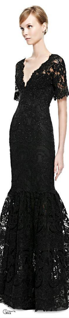 Marchesa - Fall 2014, Black Lace Mermaid Gown