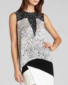 Avie Print Blocked Top (BCBGMAXAZRIA) 158, 56