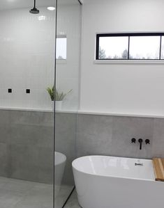 Shop for tiles of all Colors! Glass tiles, Stone Mosaics & more all organized by color of tile. Master Bathroom Tub, Small Full Bathroom, Small Bathtub, Upstairs Bathrooms, Narrow Bathroom, White Bathrooms, Luxury Bathrooms, Dream Bathrooms, Bathroom Faucets