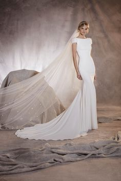 AGUA Style Short Sleeves Long Mermaid Crepe Pronovias Wedding Gown with Flowers Embellished Crepe Wedding Dress, Used Wedding Dresses, Wedding Dress Styles, Bridal Dresses, Wedding Gowns, Ball Dresses, Ball Gowns, Prom Dresses, Bridesmaid Dresses