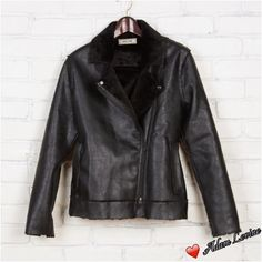 Adam Levine Moto Jacket GET YO' MOTO BACK Motorcycle jacket Black in color; textured faux leather; shell fully lined with shearling fabric; detailed w/ raw edge seams; welt front pockets; slits at the sleeves; zip front; matte black hardware; true to size. Eye-It...Buy-It! Adam Levine Jackets & Coats
