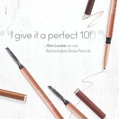 """The reviews are in... #friendfavorite Ann Louise thinks our Retractable Brow Pencils are a YES! She says, """"After chemo treatment a few years ago, my eyebrows were barely noticeable, but after trying jane iredale's brow pencil it all changed. I give it a perfect 10!"""" Ann Louise, Mineral Cosmetics, Bold Brows, Perfect 10, Clean Beauty, Makeup Products, Smudging, Eyebrows"""