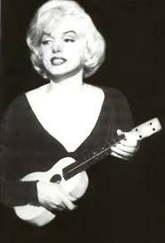 Beautiful Marilyn Monroe (seriously) and her Uke-O-Caster (not seriously)