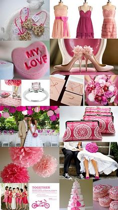 Shades of pink valentines day wedding color inspiration board ... A bit girlie but hey!