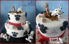 DIGGING DALMATIAN'S  Another of our cakes was the 101 Dalmatians themed cake. The top tier is a caramel butter cake and the bottom tier is a choc/white swirled mud cake.  Finished off on top is one naughty dog digging in the cake to find his bone!  www.cakesbythelake.com.au