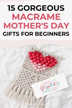 Mother's Day is the perfect moment to show off your amazing Macrame Skills to your family. Tell your mum how much you love her with one of these 15 beautiful DIY handmade Macrame Mother's Day Gifts! Will you go for a Macrame Rose Knot wall hanging, heart-shaped Macrame coaster, or a Macrame Bouquet Wrap? Here are 15 wonderful projects to choose from! #macrame #macrameprojects #mothersday #macrametutorial