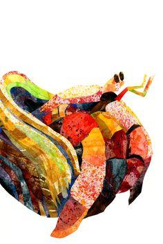 The Rainbow Hermit Crab (Eric Carle technique project) by Shir Wen Sun Steve Jenkins, Crab Painting, Lobster Art, Crab Art, Hermit Crabs, Art Folder, Lobsters, Eric Carle, Aquarium