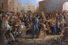 """The Via Dolorosa"" by Jon McNaughton. POWERFUL imagery here... you'll noticed in the fine details the portraits of some of the most respected AND heinous people in human history... and Christ died for every single one of them. Joan of Arc's expression in the front left side of the painting - heart-wrenching."