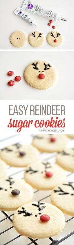 These reindeer sugar cookies are really easy to make and they look ADORABLE! The cookie recipe is so good! Perfectly even cookies, with no chilling required! (no bake christmas cookies simple) Christmas Deserts, Noel Christmas, Holiday Desserts, Holiday Baking, Simple Christmas, Holiday Treats, Holiday Recipes, Thanksgiving Treats, Easy Christmas Baking Recipes