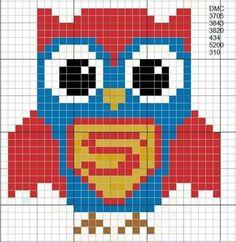 Cross Stitch Owl, Cross Stitch Freebies, Cross Stitch Animals, Cross Stitching, Cross Stitch Patterns, Crewel Embroidery, Cross Stitch Embroidery, Pixel Crochet, C2c