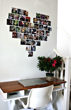 just keep it simple: DIY: A Heart of Pictures - use mini sized pics and maybe go around with hemp and nails (string art) on piece of wood so it can hang wherever. -ac