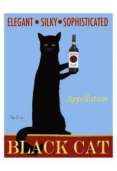 Limited Edition: Appellation Black Cat : 19x13in