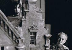 Director Tim Burton and Vincent Price on the set of Edward Scissorhands 1990