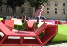 "MN*LS Creative Consultancy was asked to design modular outdoor furniture for the MuseumsQuartier in Vienna, after the previous pieces, ""Enzis"" were destroy"