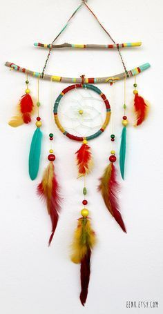 ☆ The Shaman's Journey Native Rasta Dream Catcher Feather Mobile :¦: Etsy Shop: Eenk ☆ Dream Catchers, Feather Dream Catcher, Diy Dream Catcher For Kids, Dream Catcher Mobile, Los Dreamcatchers, Feather Mobile, Dream Catcher Tutorial, Craft Projects, Projects To Try