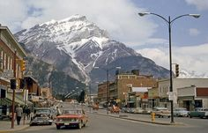 Banff, Alberta, Canada, sometime in the early Sixties. Scanned from a box of Kodachrome slides found at a flea market. :: Shorpy Historic Picture Archive :: Bustling Banff: 1964 high-resolution photo