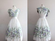 1950s Floral Dress -- 50s/60s Vintage Scuderi Italian Cotton Full Skirt Tea Length Party Dress w/ Purple Wisteria Flowers - M