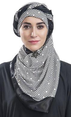 #Kilam - #EastEssence Diamond Print Hijab with Trim - AdoreWe.com