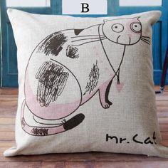 Cartoon cat animal print pillows for couch cute kitty sofa cushions