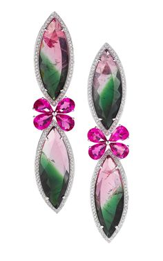 Watermelon Tourmaline, Rubelite, & Diamond Earrings from Dana Rebecca