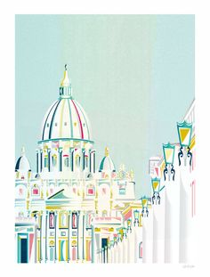 Vatican+Rome+Italy++European+Cityscape+Art+Print++A4+by+lauraamiss,+€10.00