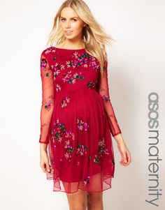 Asos Maternity Skater Dress With Embellishment