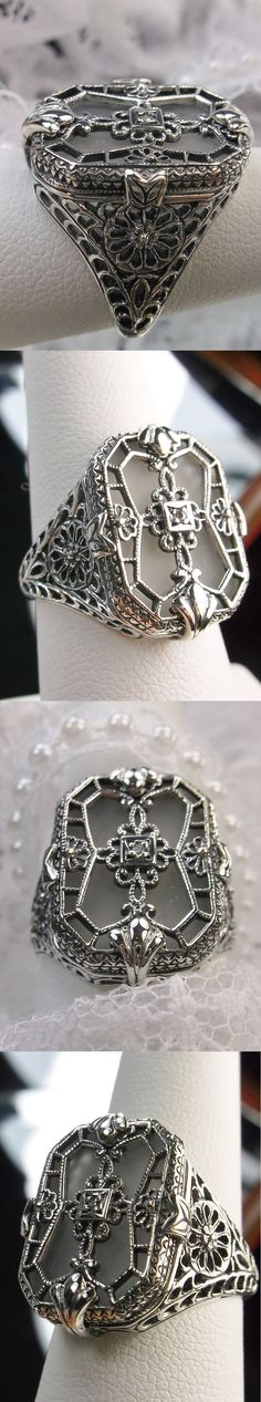 Other Fine Rings 177030: Camphor Glass Solid Sterling Silver 1930S Art Deco Design Filigree Ring Size 7 BUY IT NOW ONLY: $52.0