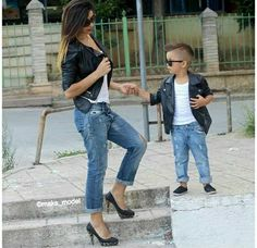 One day this will be me.  Mother and son matching outfits