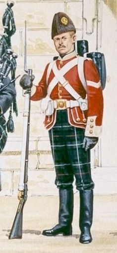 A Corporal of the 78th Highlanders in winter dress in Canada. The 78th were famously based in first Canada (Montreal) and then Nova Scotia (Halifax). The regiment made such an impression whilst at the latter post (with its long-standing Scottish associations) that there is a regiment of re-enactors who perpetuate the dress and memory of the 78th. This unit has been awarded the freedom of the City.