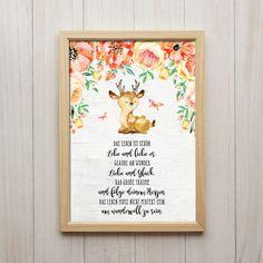 Das Leben ist Schön Kunstdruck DIN A4 Reh Spruch Bild Kinderzimmer Tiere Deko