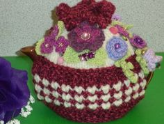 peony pink posies... hand knitted crocheted and by peerietreisures