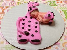 Fondant Baby with Giraffe Cake Topper by anafeke on Etsy, $18.00