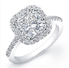 Cushion cut halo engagement ring by GOLDGANESH on Etsy